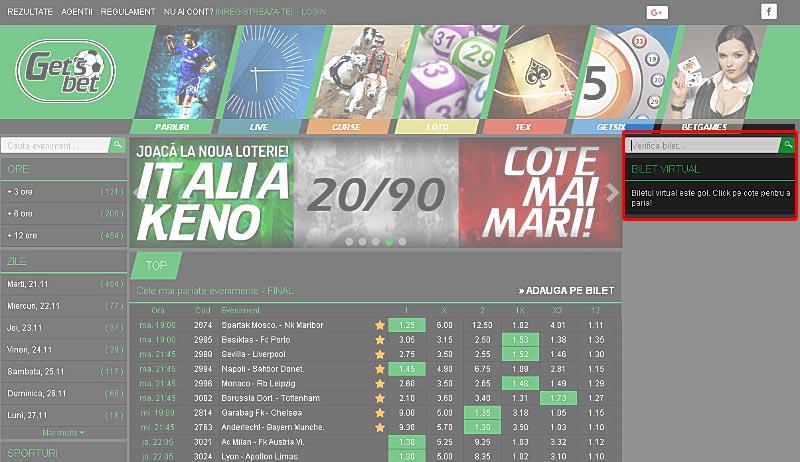 verificare bilet virtual Get's Bet