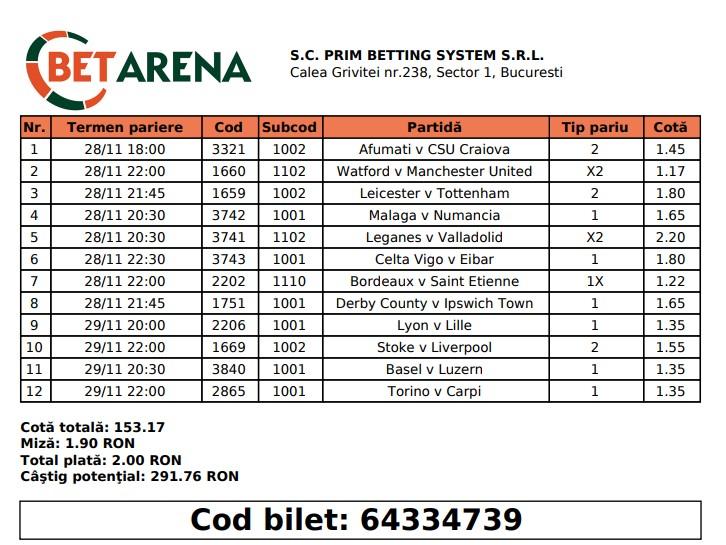 Biletul zilei cu mai multe alegeri la Betarena.ro