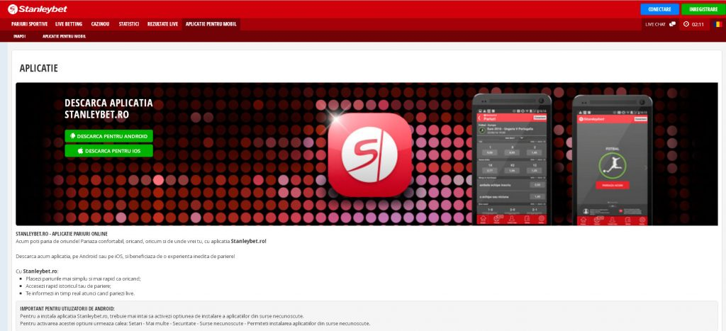 Aplicatia Stanleybet pentru android