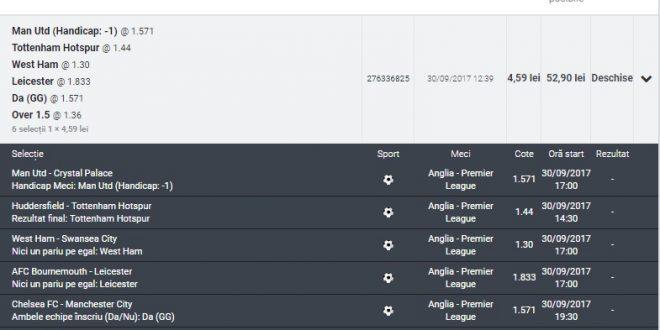 Bilet pariuri Premier League 30 Sep 2017