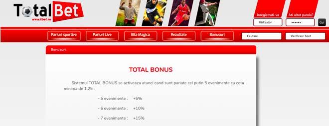 care sunt bonusurile Totalbet