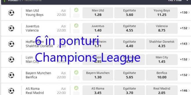 6 ponturi in Champions League