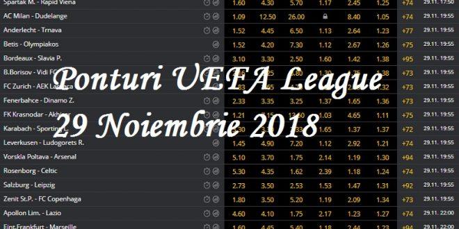 Ponturi UEFA League 29 Noiembrie 2018