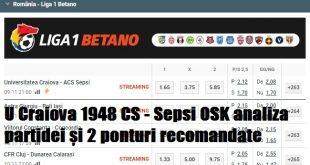 U Craiova 1948 CS - Sepsi OSK analiza partidei și 2 ponturi recomandate