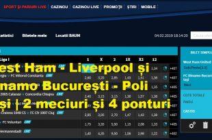 West Ham - Liverpool și Dinamo București - Poli Iași | 2 meciuri și 4 ponturi