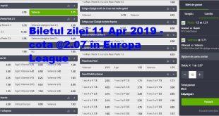 Biletul zilei 11 Apr 2019 - cota @2.07 în Europa League