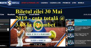 Biletul zilei 30 Mai 2019 - cota totală @3.68 la Baumbet