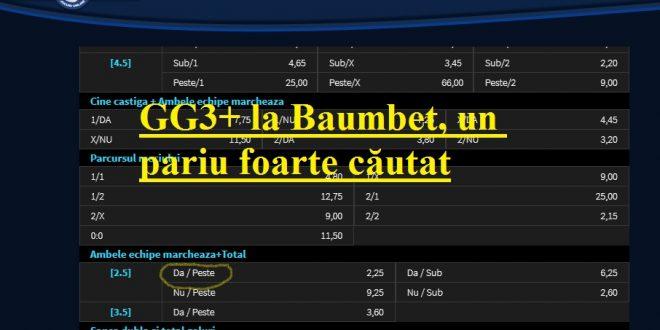 GG3+ la Baumbet, un pariu foarte căutat
