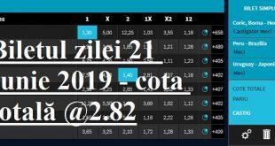 Biletul zilei 21 Iunie 2019 - cota totală @2.82