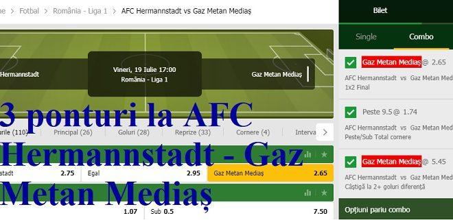 3 ponturi la AFC Hermannstadt - Gaz Metan Mediaș