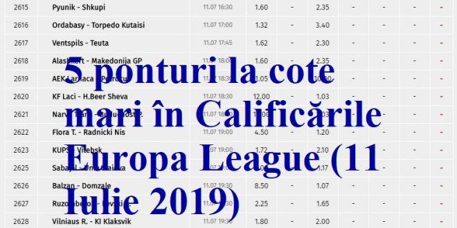 5 ponturi la cote mari în Calificările Europa League (11 Iulie 2019)