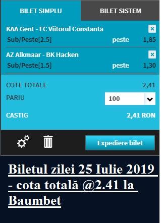 Biletul zilei 25 Iulie 2019 - cota totală @2.41 la Baumbet