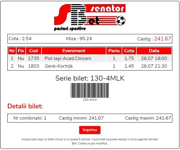 Biletul zilei 26 Iulie 2019 - cota totală @2.54 SenatorBet