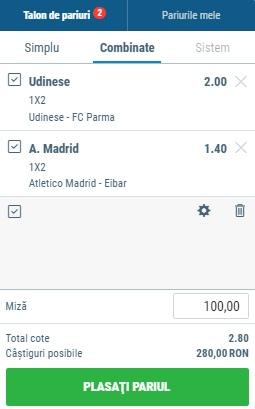 Biletul zilei 1 Septembrie 2019 - cota totală @2.80 la Sportingbet