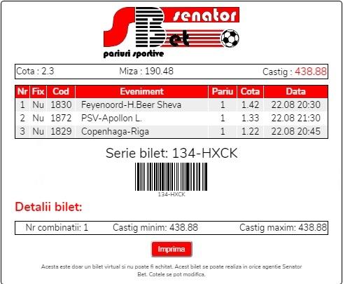 Biletul zilei 22 August 2019 - cota totală @2.30
