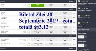 Biletul zilei 20 Septembrie 2019