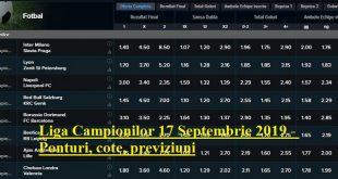 Liga Campionilor 17 Septembrie 2019 - Ponturi, cote, previziuni