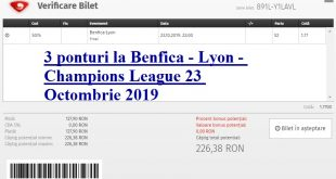 3 ponturi la Benfica - Lyon - Champions League 23 Octombrie 2019