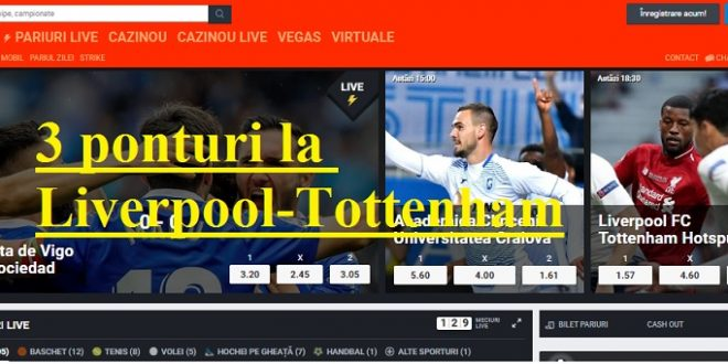3 ponturi la Liverpool - Tottenham