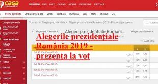 Alegerile prezidențiale România 2019 - prezența la vot Casa Pariurilor