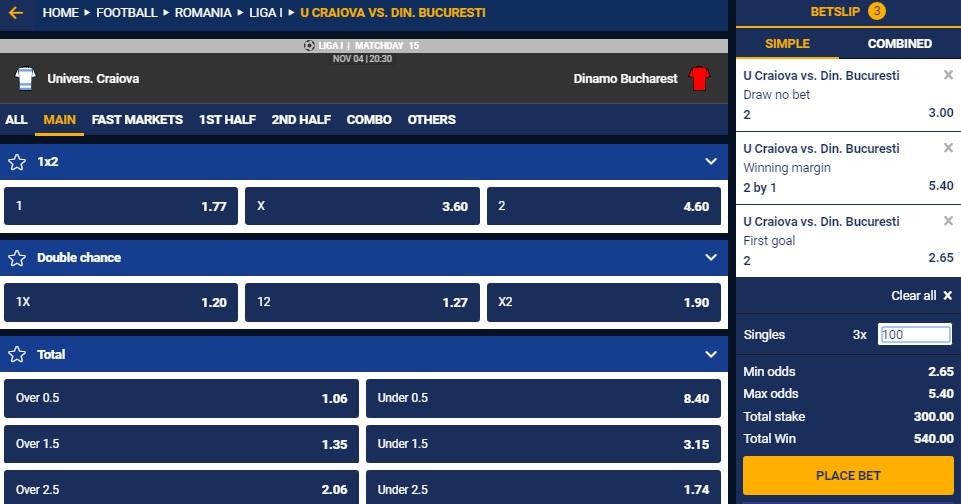 3 ponturi la cote mari pentru meciul Craiova - Dinamo