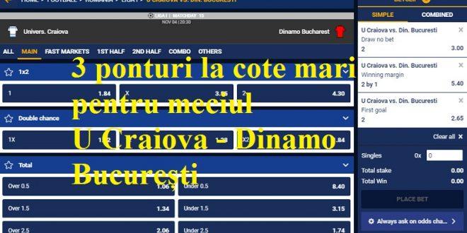 3 ponturi la cote mari pentru meciul U Craiova - Dinamo București