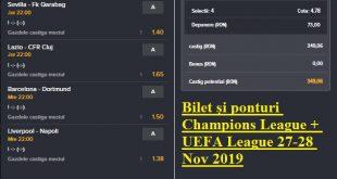 Bilet și ponturi Champions League + UEFA League 27-28 Nov 2019