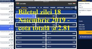 Biletul zilei 18 Noiembrie 2019 - cota totală @2.81
