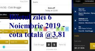 Biletul zilei 6 Noiembrie 2019 - cota totală @3.81