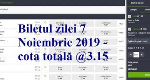 Biletul zilei 7 Noiembrie 2019 - cota totală @3.15