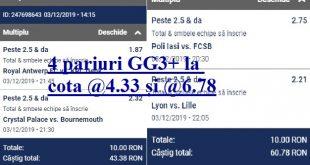 4 pariuri GG3+ la cota @4.33 și @6.78