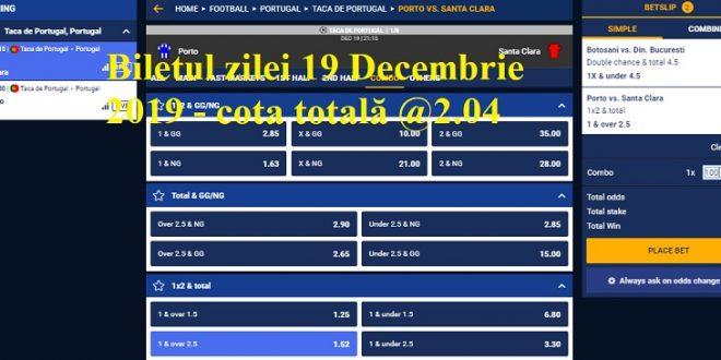 iletul zilei 19 Decembrie 2019 - cota totală @2.04