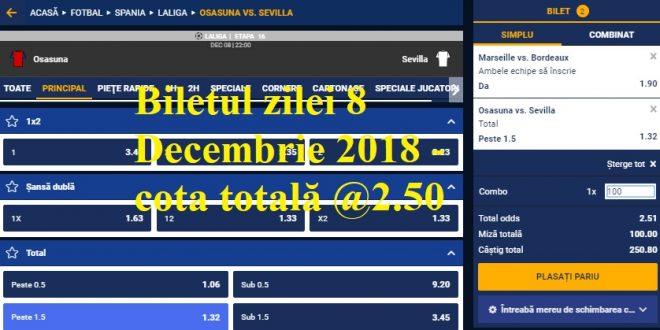 Biletul zilei 8 Decembrie 2018 - cota totală @2.50
