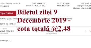 Biletul zilei 9 Decembrie 2019 - cota totală @2.48 CP