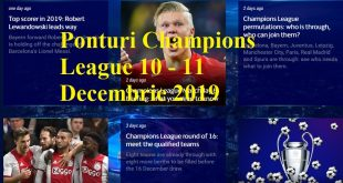 Ponturi Champions League 10 - 11 Decembrie 2019