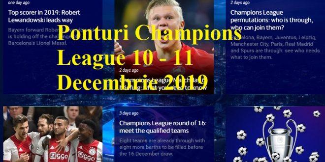 Ponturi Champions League 10 - 11 Decembrie 2019