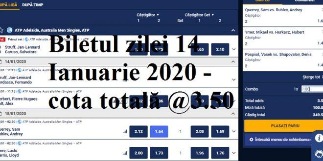 Biletul zilei 14 Ianuarie 2020 - cota totală @3.50