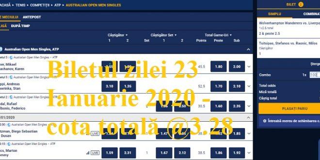 Biletul zilei 23 Ianuarie 2020 - cota totală @3.28