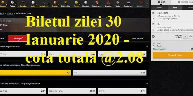 Biletul zilei 30 Ianuarie 2020 - cota totală @2.08