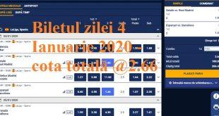 Biletul zilei 4 Ianuarie 2020 - cota totală @2.66