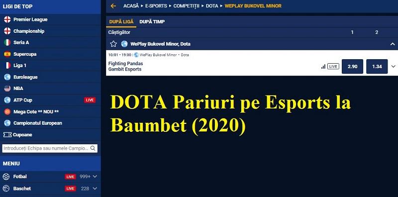 DOTA Pariuri pe Esports la Baumbet (2020)