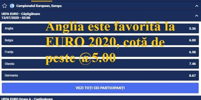 Anglia este favorită la EURO 2020, cotă de peste @5.00