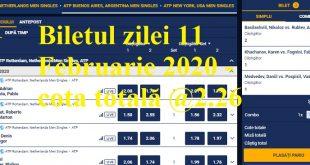 Biletul zilei 11 Februarie 2020 - cota totală @2.26