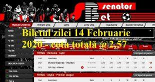 Biletul zilei 14 Februarie 2020 - cota totală @2.57
