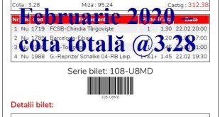 Biletul zilei 22 Februarie 2020 – cota totală @3.28