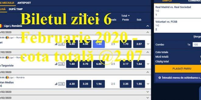 Biletul zilei 6 Februarie 2020 - cota totală @2.07