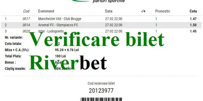 Verificare bilet Riverbet