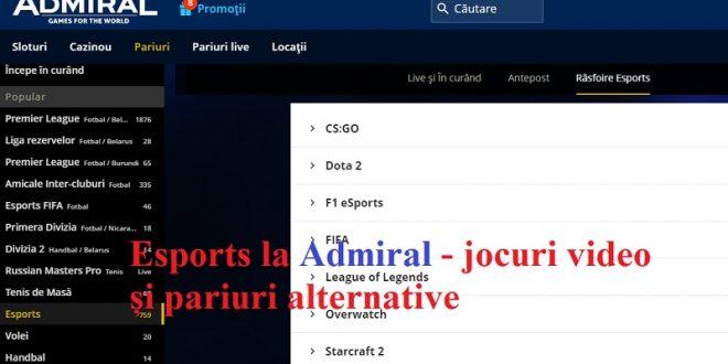 Esports la Admiral - jocuri video și pariuri alternative