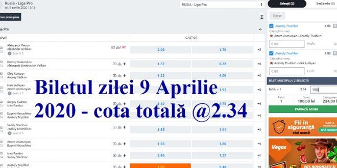 Biletul zilei 9 Aprilie 2020 - cota totală @2.34