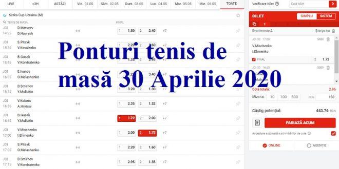 Ponturi tenis de masă 30 Aprilie 2020